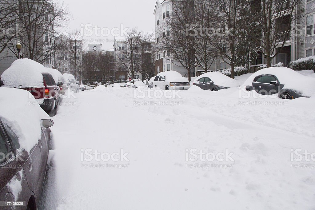 Street after Snow Storm stock photo