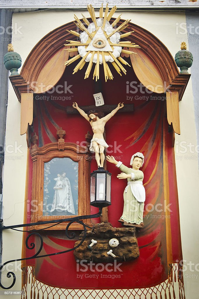 Street altar, Bruges, Belgium royalty-free stock photo
