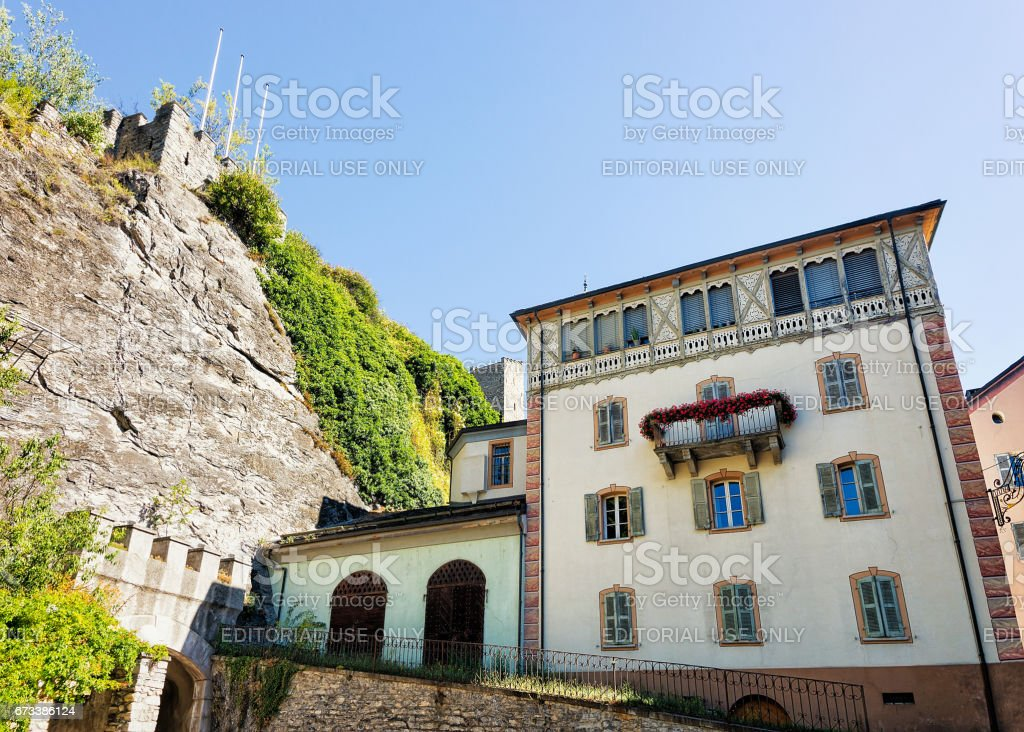 Street and building architecture at Sion capital Valais Swiss stock photo