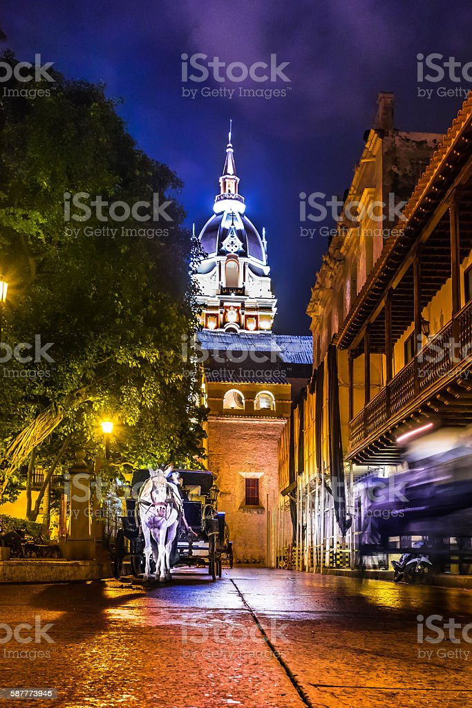Street and Cathedral at night - Cartagena de Indias, Colombia stock photo