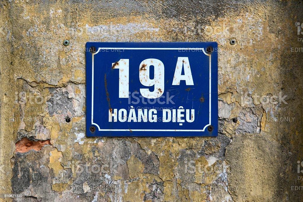 Street and civic number, Hanoi stock photo