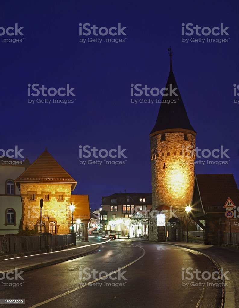 Street and Hexenturm tower in Bad Homburg. Germany stock photo