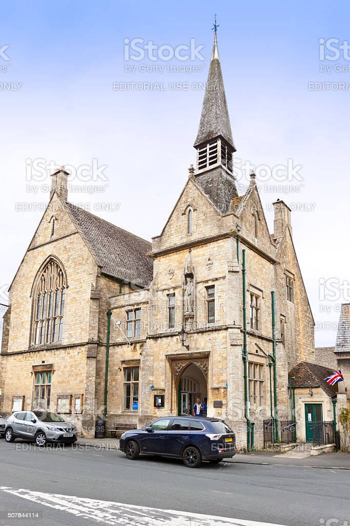 Street and Historic Building in Stow-on-the-Wold, Cotswold, England, UK. stock photo