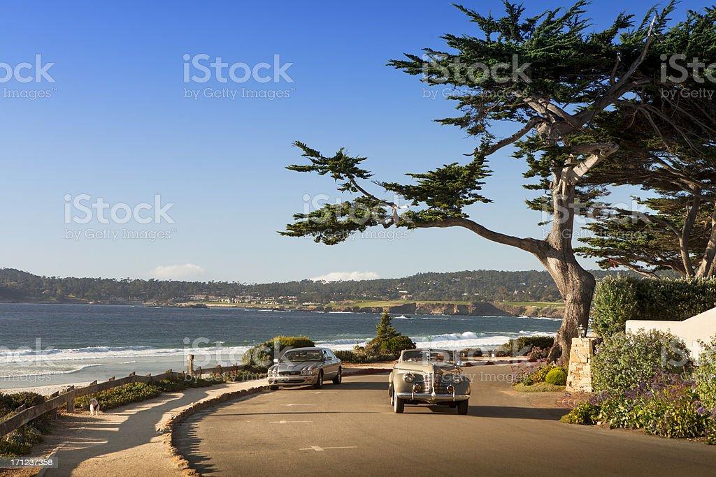 Street and walkway on Carmel Beach in Carmel-by-the-Sea stock photo