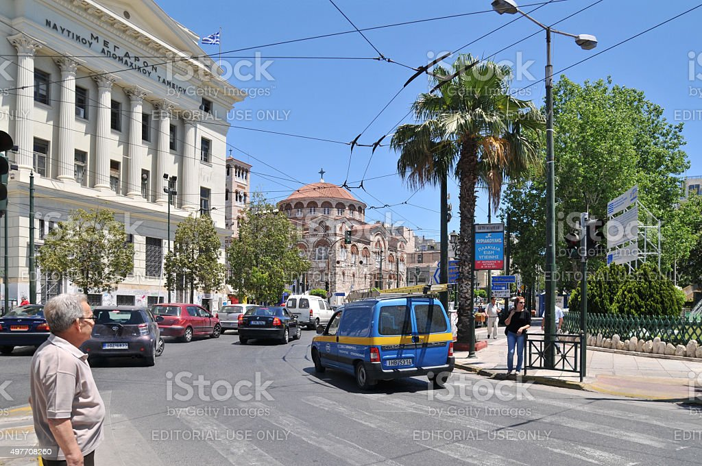 Street around Piraeus port, Athens, Greece stock photo