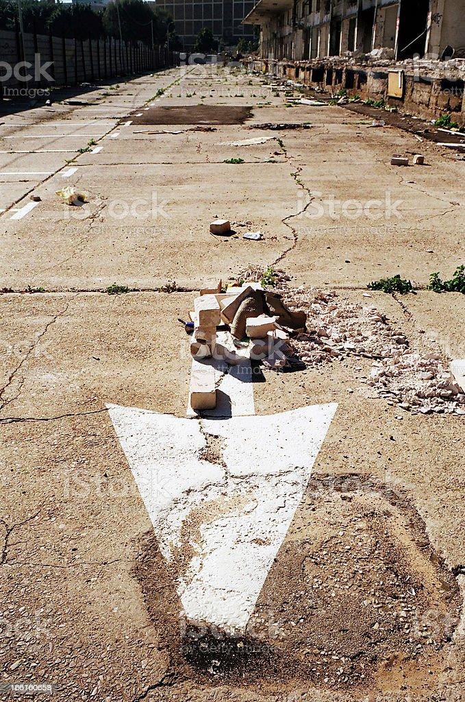 Street Arrow and Abandoned Market royalty-free stock photo