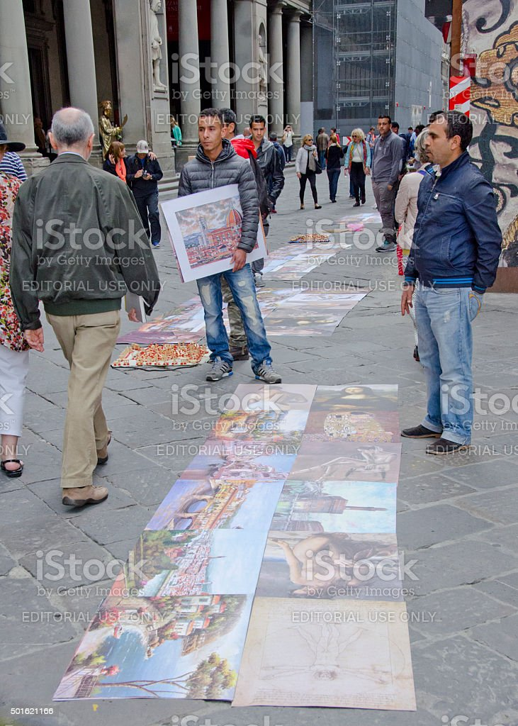 Street Art For Sale In Front of Uffizi Gallery stock photo