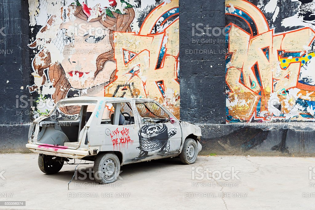 Street art installation of crashed car, Espace Darwin Bordeaux, France. stock photo