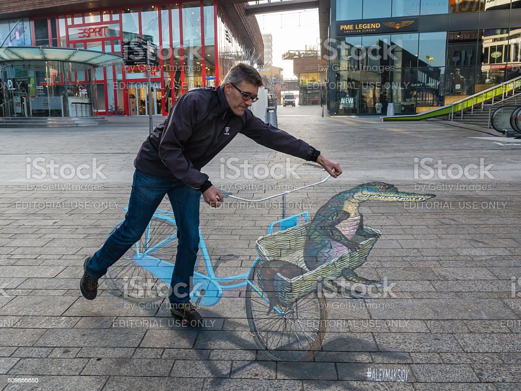 Street art showing optical illusion stock photo