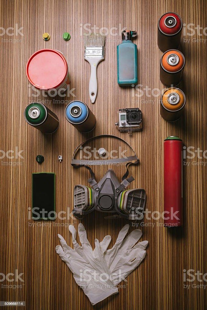 Street artist accessories stock photo