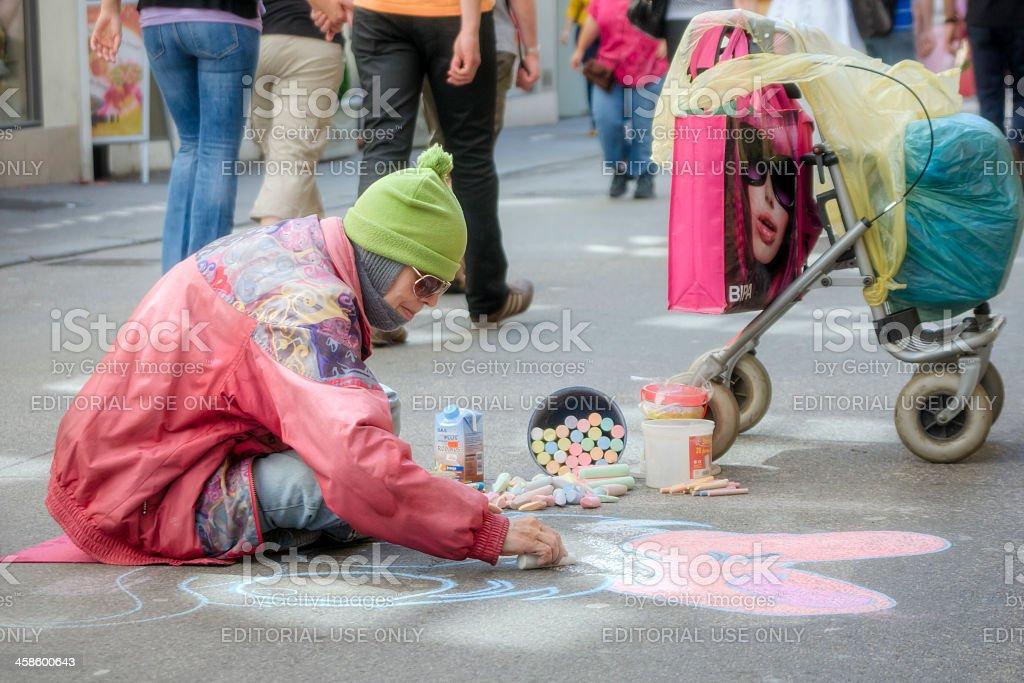 Street Artist in Salzburg stock photo
