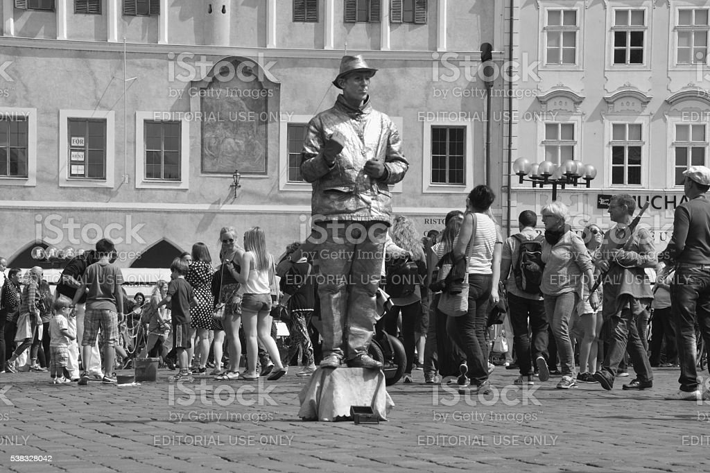 Street artist posing at Old town square, Prague, Czech Republic stock photo