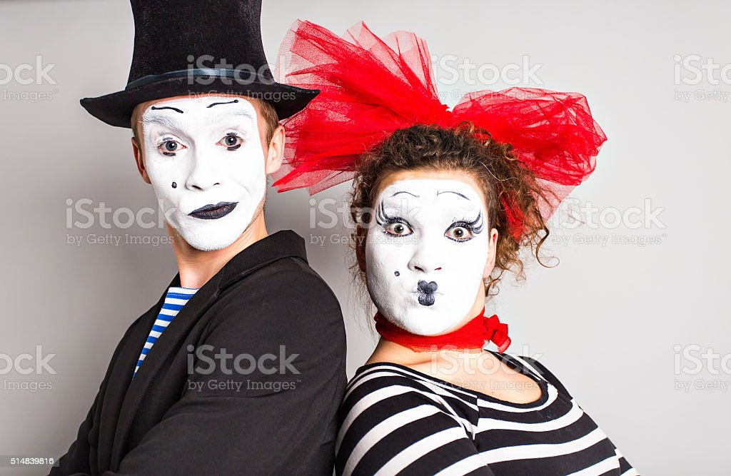 Street artists performing, Two mimes man and  woman in april stock photo