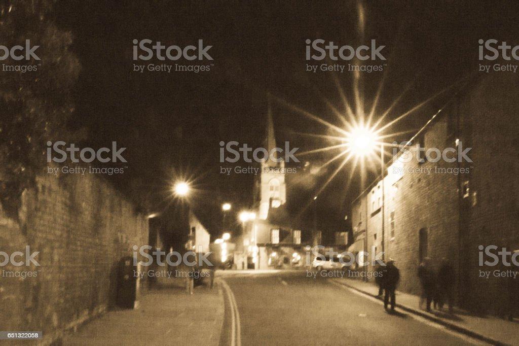 Street at night in Stamford stock photo