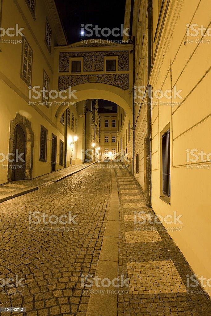Street at night, Prague royalty-free stock photo