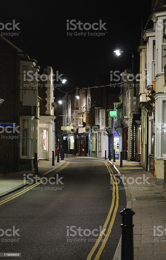 Street at Night, Whitstable stock photo