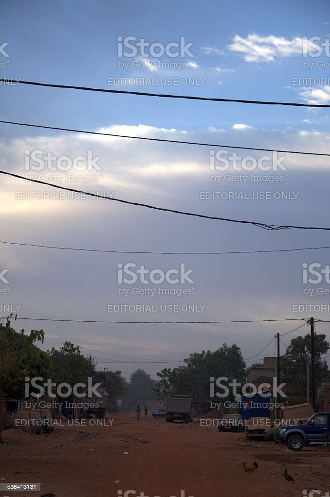street at sun set in Ouagadougou stock photo