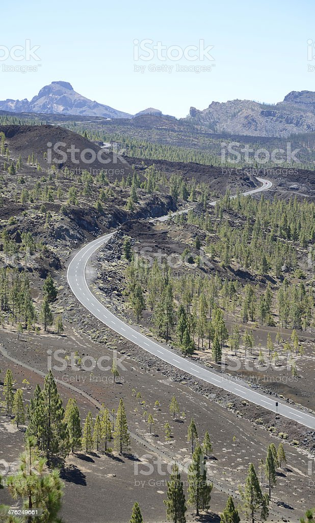 Street at Teide National parc, Tenerife royalty-free stock photo
