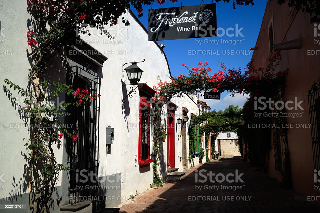 Street at Tequisquiapan, Mexico. stock photo