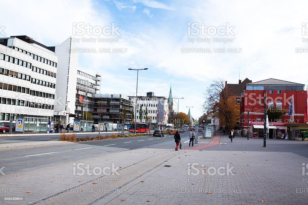 Street Bahnhofstraße in Paderborn stock photo