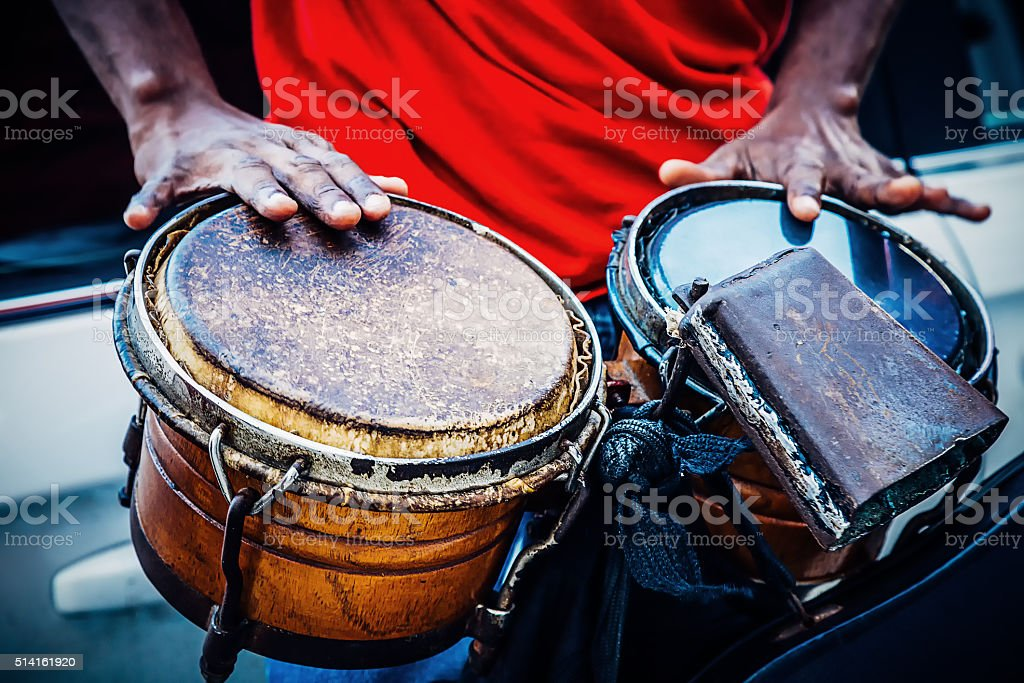 Street band drummer stock photo