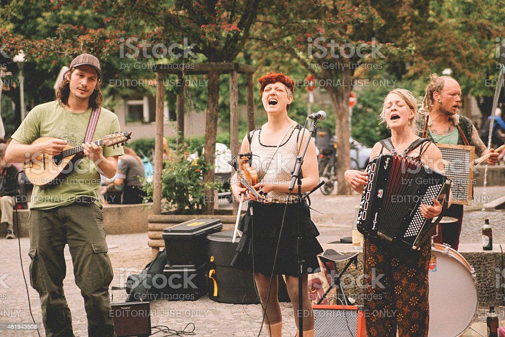 Street band in Berlin, Kreuzberg stock photo