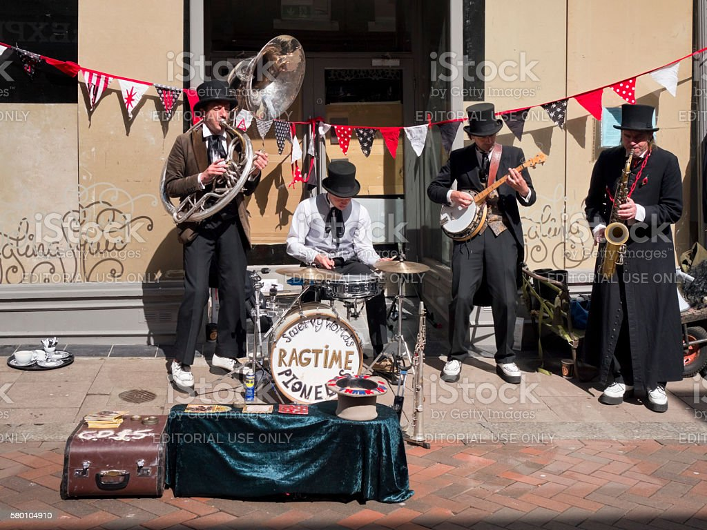 Street Band in Bury St Edmunds stock photo