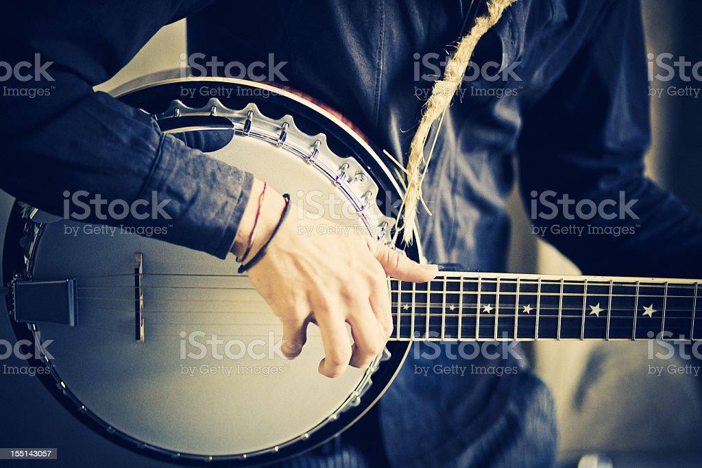 street banjo player stock photo