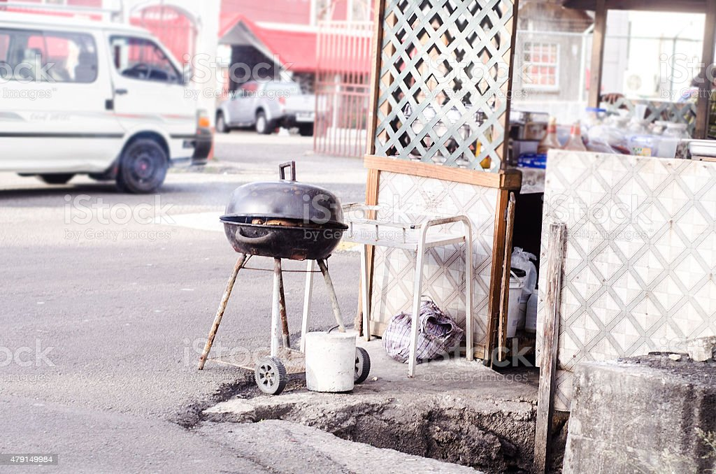 street barbeque grill stock photo
