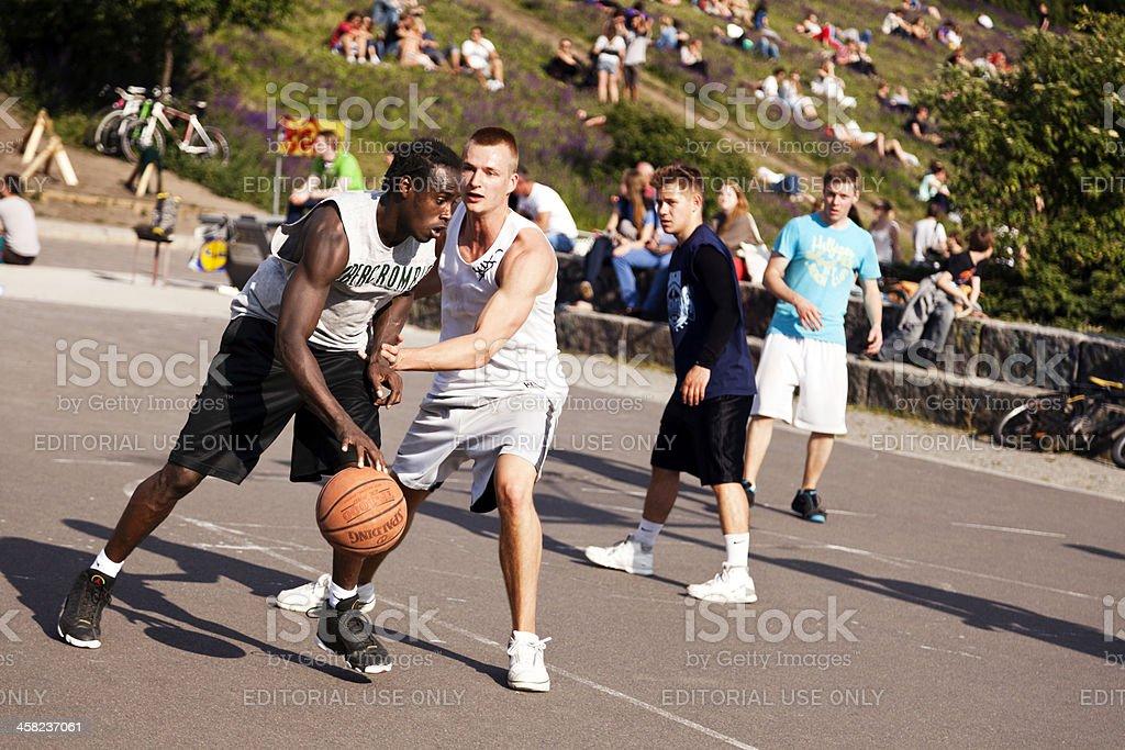 Street Basketball Intense Battle stock photo
