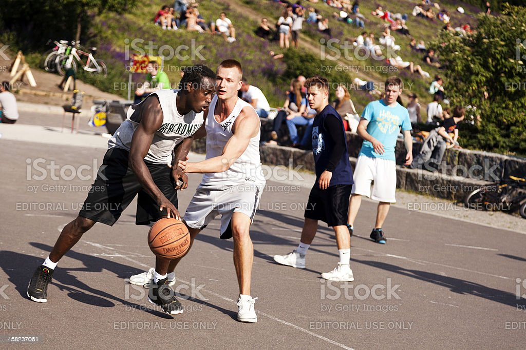 Street Basketball Intense Battle stock photo