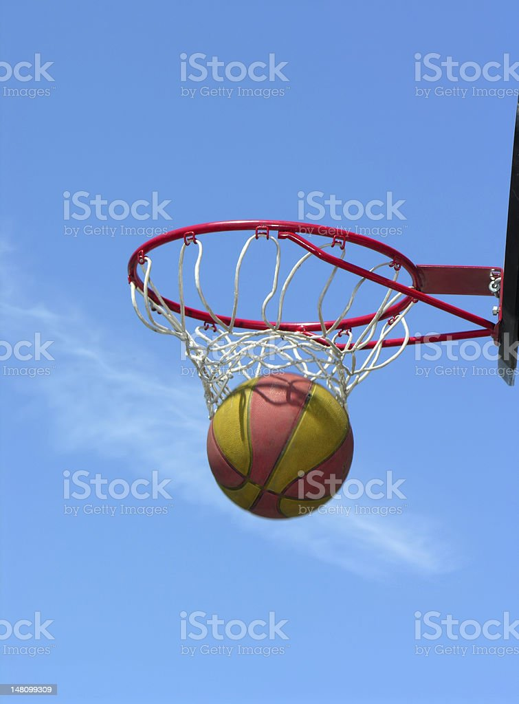the successful moment of street basketball game