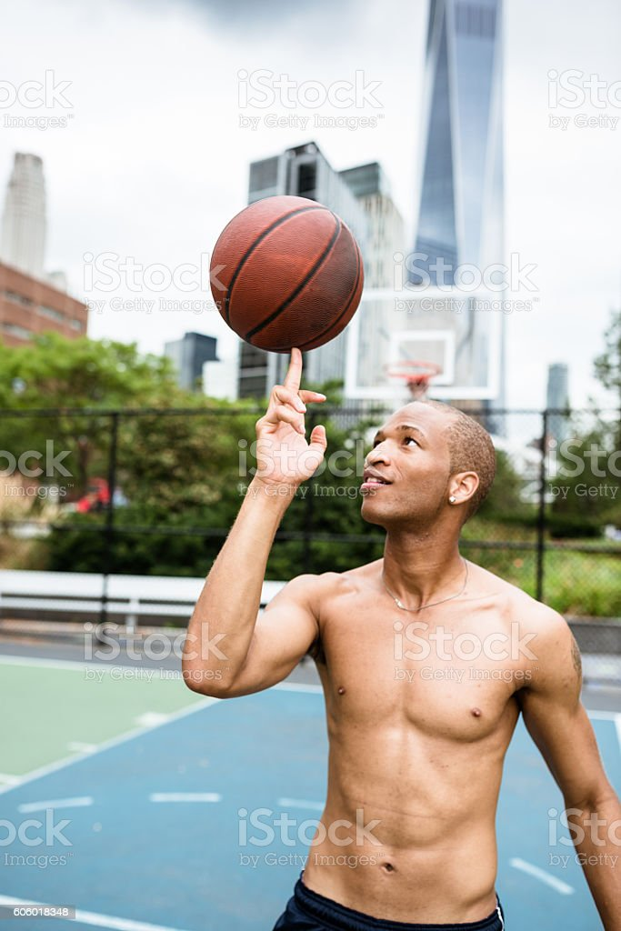 street basketball player on the court in new york city stock photo
