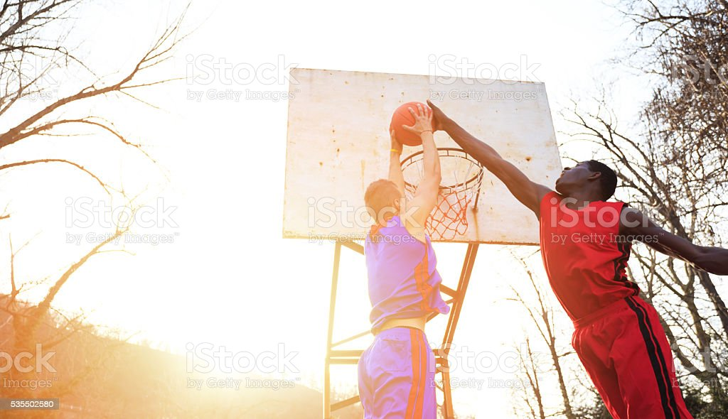Street basketball players stock photo
