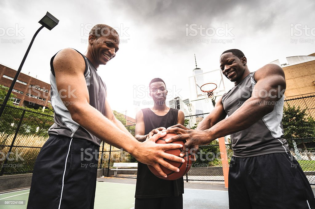 street basketball squad on the court stock photo