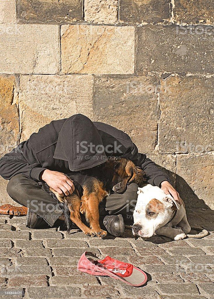 Street Beggar in Prague stock photo