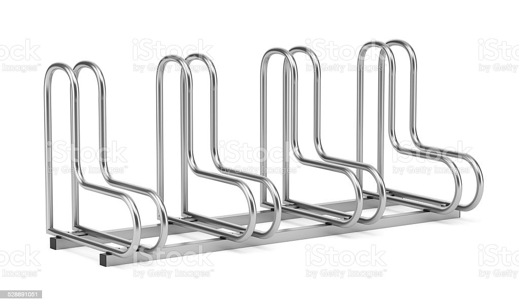 street bicycle rack isolated on white background stock photo