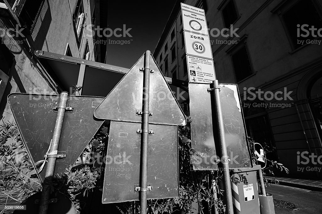 Street blocked by road signs stock photo