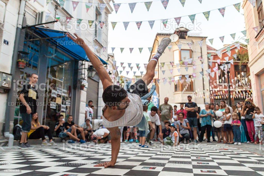 Street breakdancing stock photo
