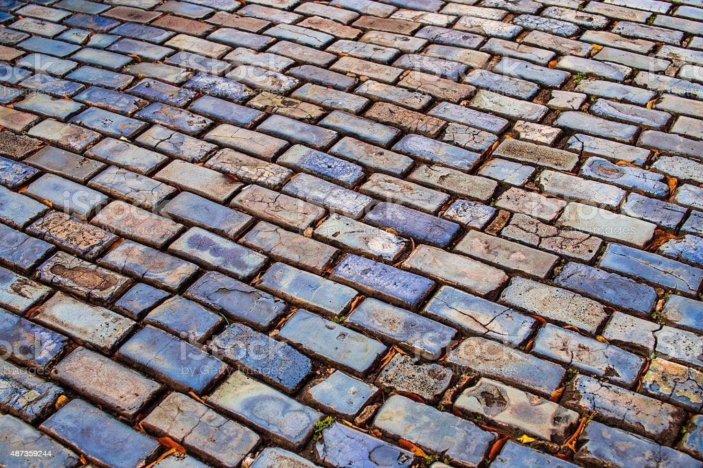 Street Brick Stones in Old San Juan Puerto Rico stock photo