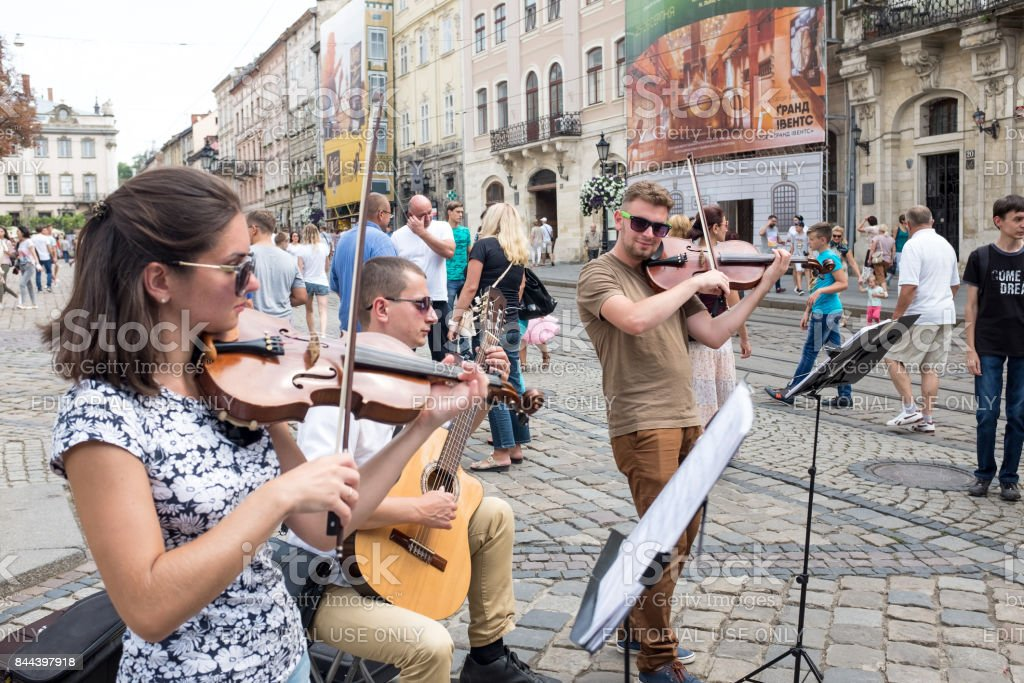 Street Busker in Lviv stock photo