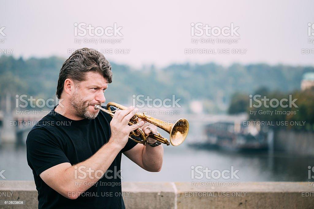 Street Busker performing jazz songs at Charles Bridge in Prague stock photo