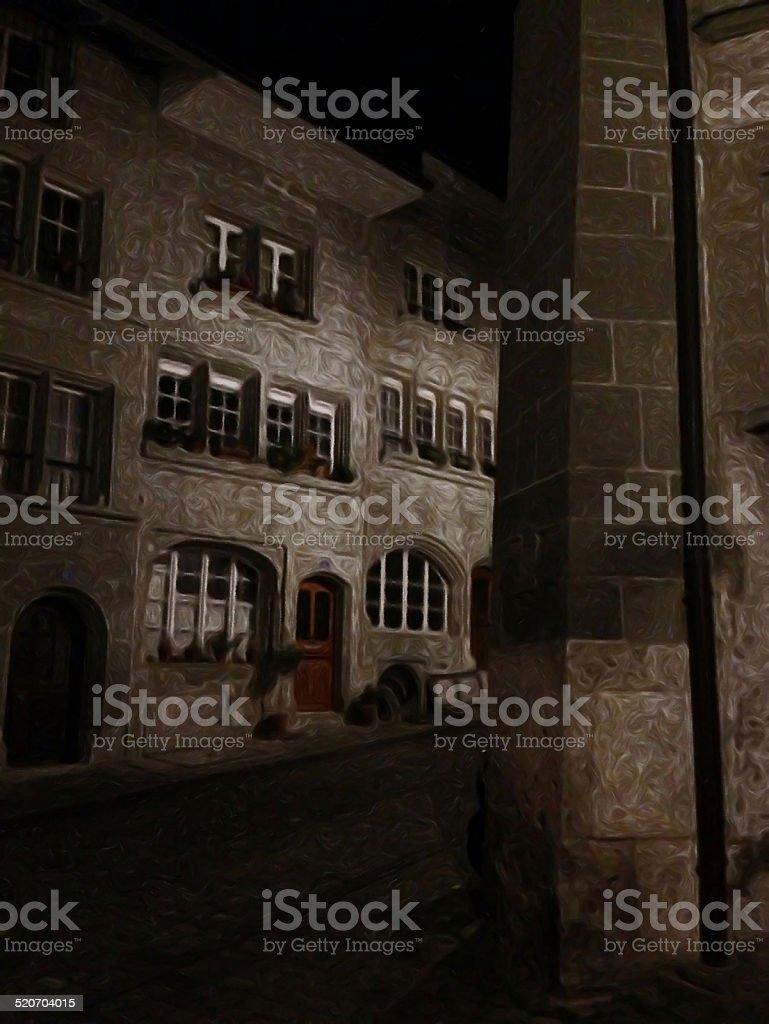 street by night in Fribourg (Switzerland), prstreet by night in Fribourg (Switzerland), made with ToonCamera/CodeOrgana stock photo