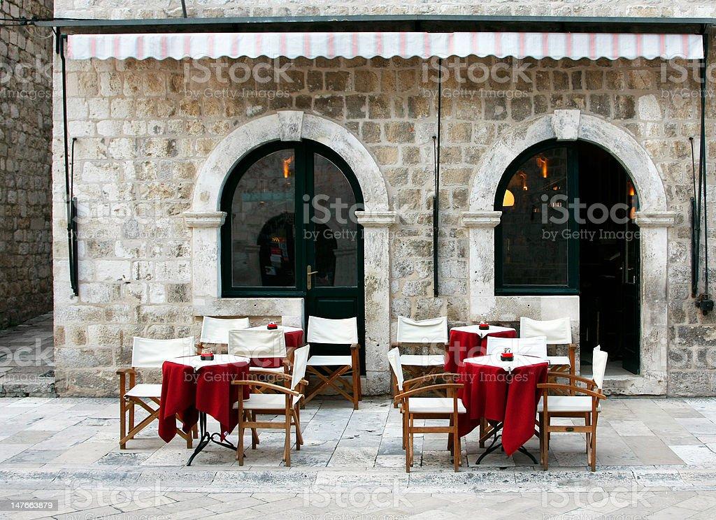 Street cafe in old town royalty-free stock photo