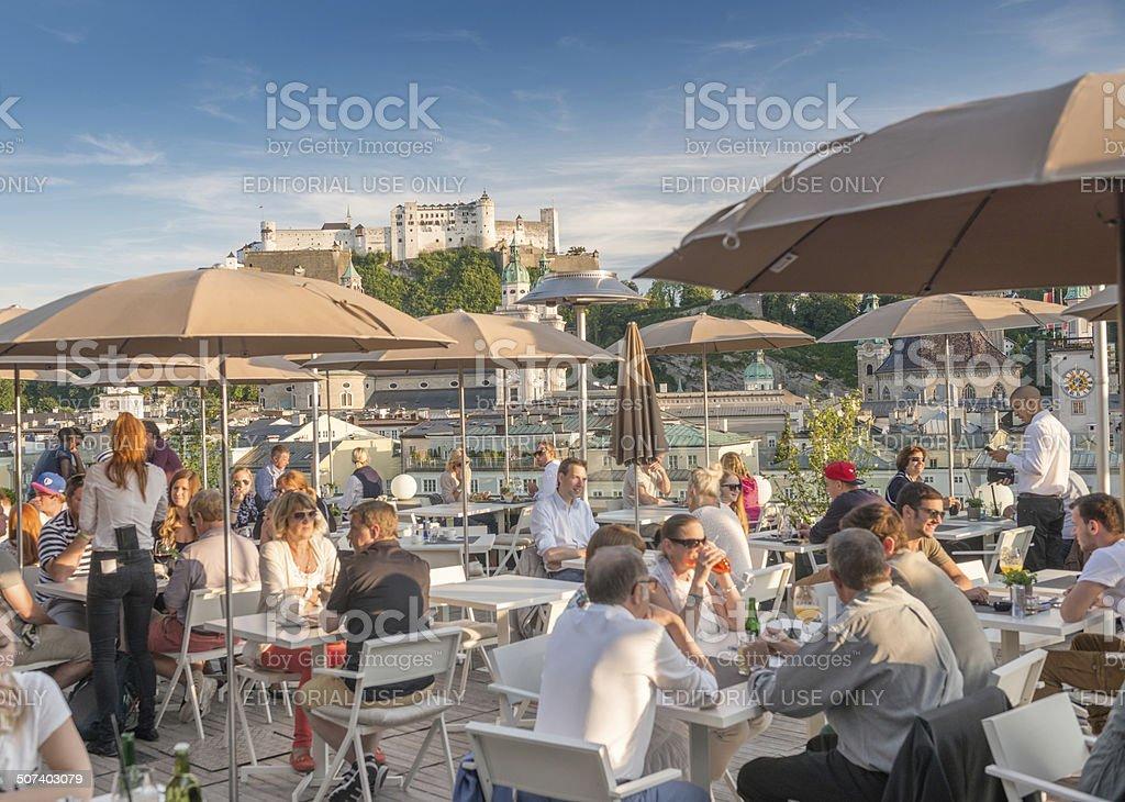 Street Cafe, Salzburg, Austria stock photo