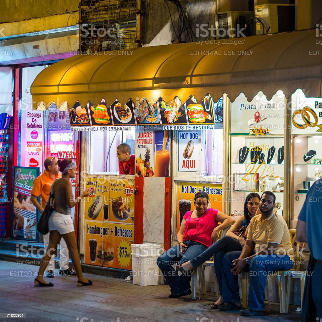 Street cafes Santo Domingo, Dominican Republic royalty-free stock photo