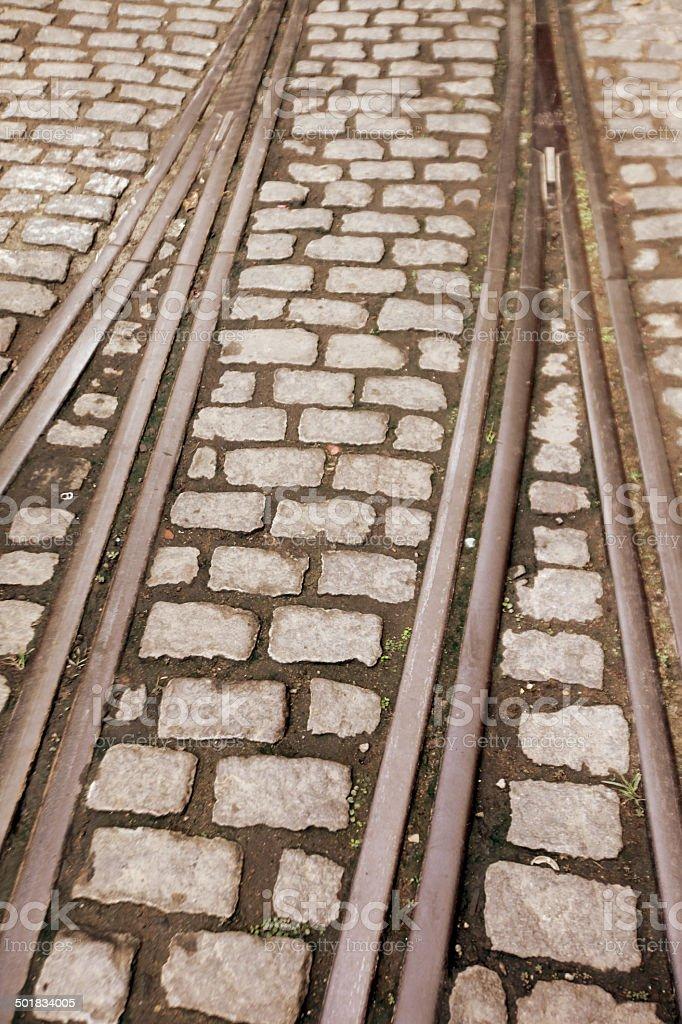 Street car rail detail royalty-free stock photo