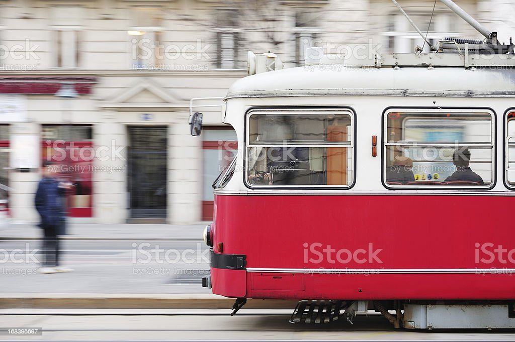 street car, tram, panning blurred background royalty-free stock photo
