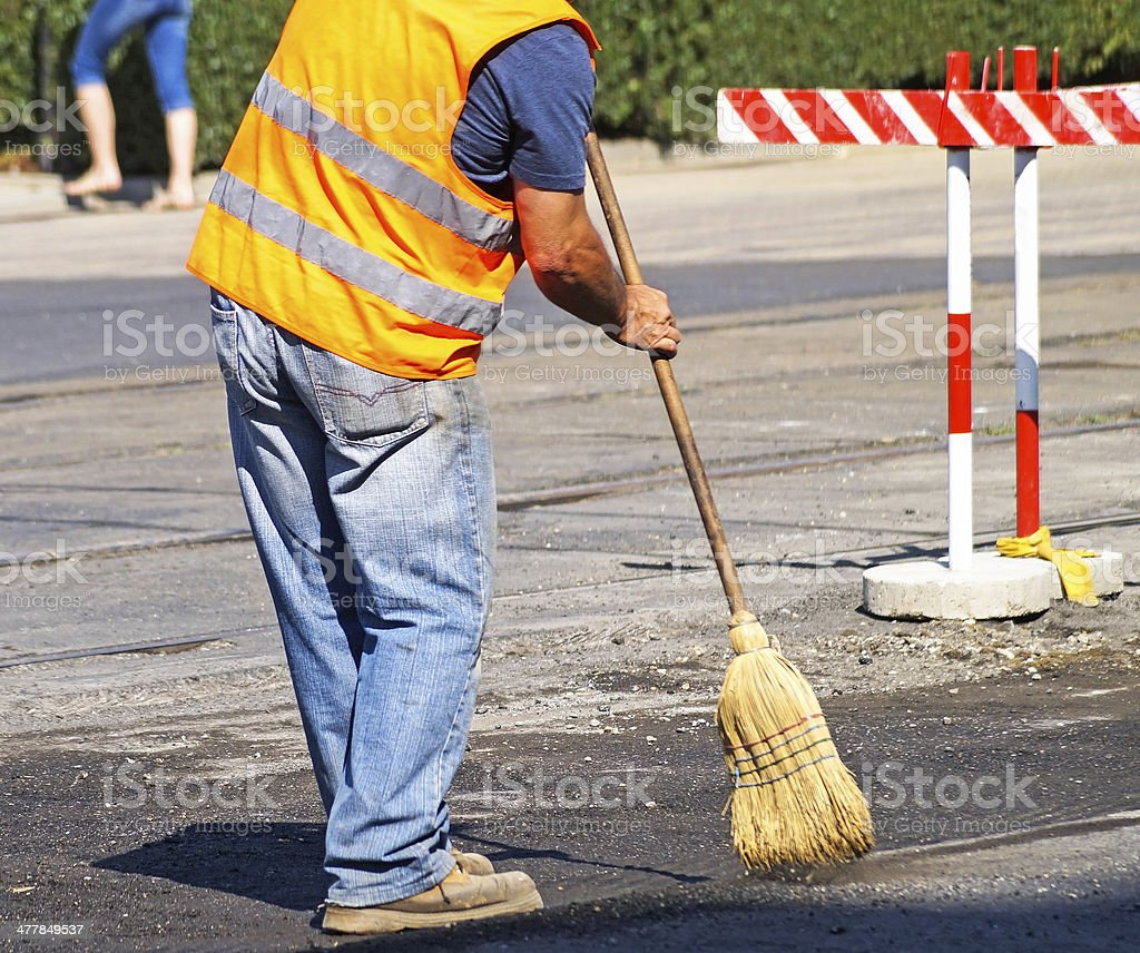 street cleaner is working stock photo
