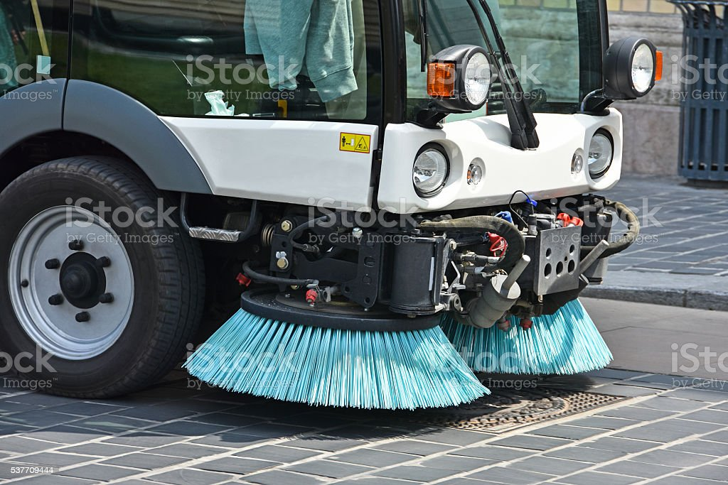 Street cleaner vehicle stock photo